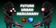 Future Urban Mercenary Game Character Sprites